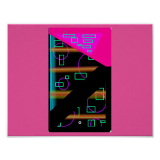Retro Techno Neon Cosmic Value Poster Paper
