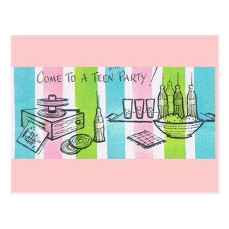 Retro Teenage Birthday Party Postcard