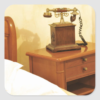 Retro telephone square sticker
