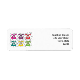 Retro Telephones Funny Colorful Cute Cartoon Chic Return Address Label