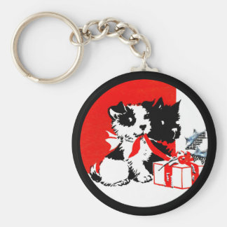 Retro Terrier and Scotty Dogs Basic Round Button Keychain