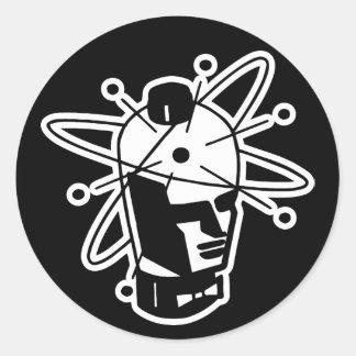 Rétro tête de robot de la science fiction - noir sticker rond