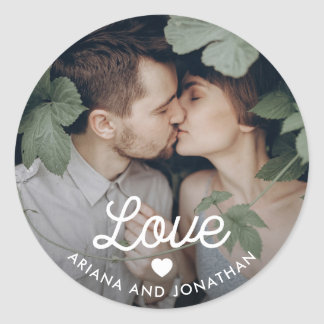 Retro Text | Love with Heart and Your Photo Classic Round Sticker