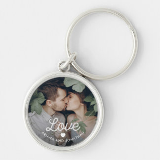 Retro Text | Love with Heart and Your Photo Keychain