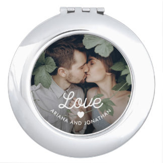 Retro Text | Love with Heart and Your Photo Travel Mirror