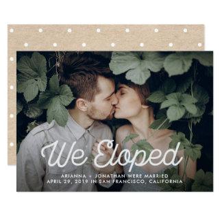Retro Text | We Eloped Wedding Photo Card