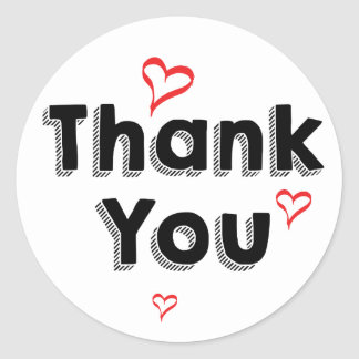 Retro Thank You Black And White Red Hearts Classic Round Sticker