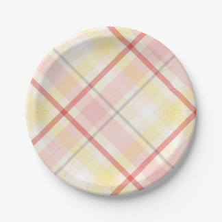 Retro Thank You Gray & Yellow Laurel Wedding Party Paper Plate