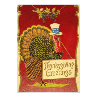 Retro Thanksgiving Turkey Magnetic Card