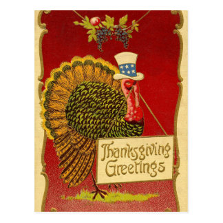 Retro Thanksgiving Turkey Postcard