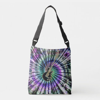 Retro Tie-Dye Guitar Music Tote Bag