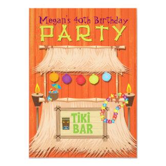 Retro Tiki Bar Tropical Hawaiian Party Invitation