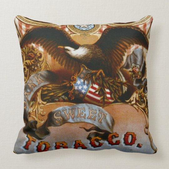 Retro Tobacco Label 1868 a Throw Pillow