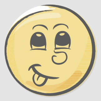 Retro Tongue Emoji Classic Round Sticker
