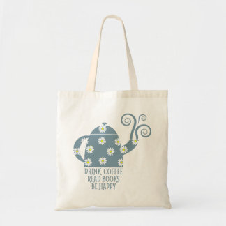 Retro tote: Drink Coffee, Read Books, Be happy Tote Bag