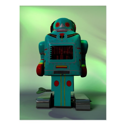 Retro Toy Robot Postcard