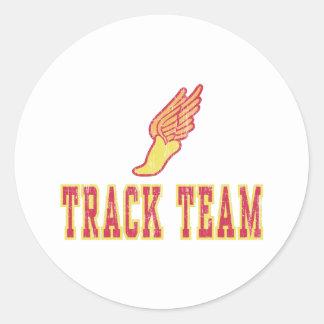 Retro Track Team Round Sticker