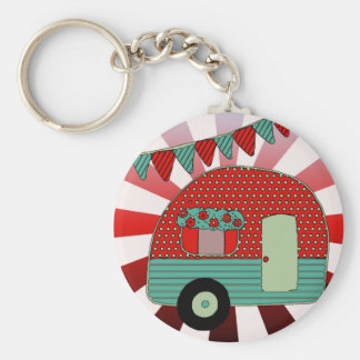 Retro Trailer, Camper Vintage Bunting Add Name Keychain