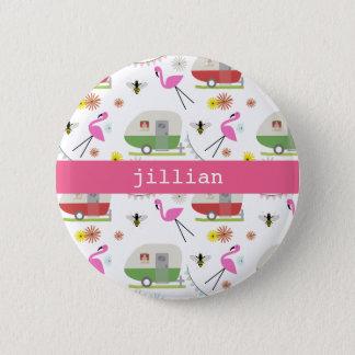 Retro Trailer & Flamingos Pattern 2 Inch Round Button