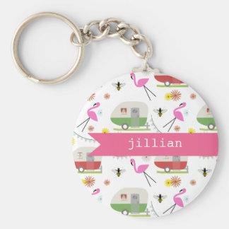 Retro Trailer & Flamingos Pattern Basic Round Button Keychain