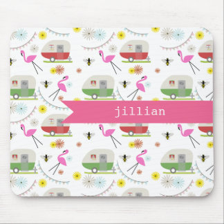 Retro Trailer & Flamingos Pattern Mouse Pad