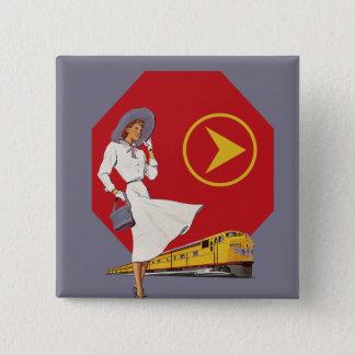 Retro Train Travel 2 Inch Square Button