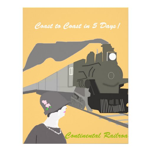 Retro Train Travel Custom Letterhead