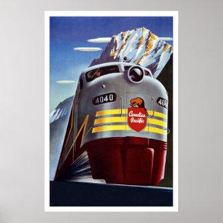 Rétro train vintage Canada de voyage d image d imp Posters