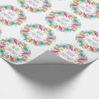 Retro Tree Baubles Circle Christmas wrapping paper