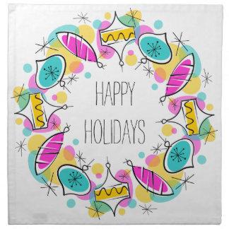 Retro Tree Baubles Circle Holidays napkins cloth