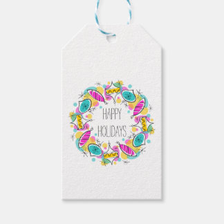 Retro Tree Baubles Circle Holidays text back Gift Tags