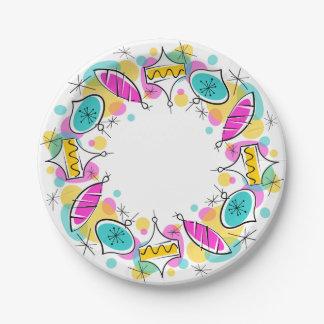 Retro Tree Baubles Circle paper plates