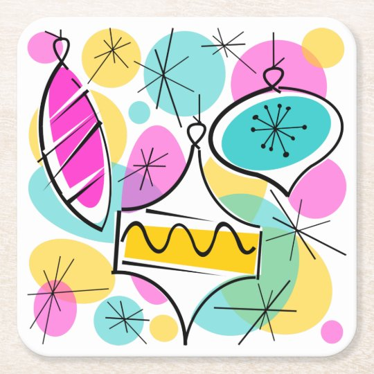 Retro Tree Baubles coaster square
