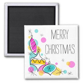 Retro Tree Baubles Corner Christmas magnet square
