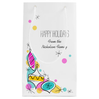 Retro Tree Baubles Corner Holidays Text small Small Gift Bag