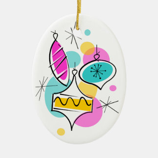Retro Tree Baubles Group Christms ornament oval