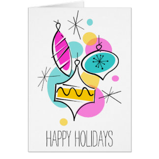 Retro Tree Baubles Group Holidays vertical Card