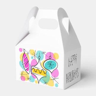 Retro Tree Baubles Happy Holidays gable Favor Box