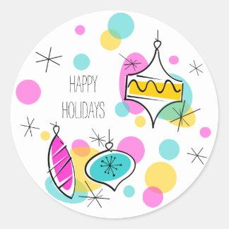 Retro Tree Baubles Happy Holidays sticker