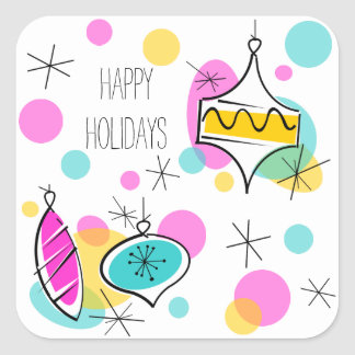 Retro Tree Baubles Happy Holidays sticker square