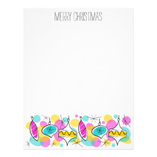 Retro Tree Baubles Line Christmas Footer Letterhead