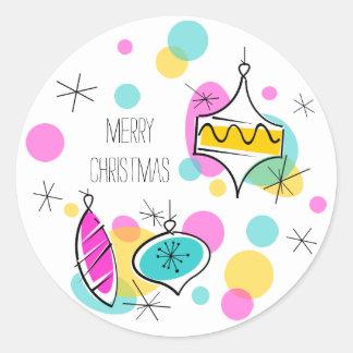Retro Tree Baubles Merry Christmas sticker