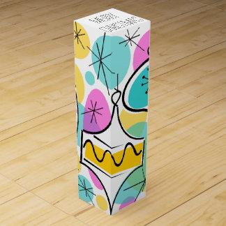 Retro Tree Baubles Merry Christmas top wine box