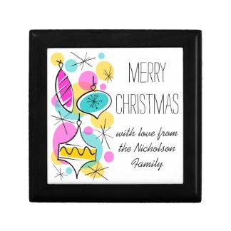Retro Tree Baubles Side Christmas Text black Gift Box