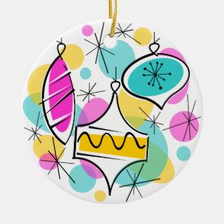 Retro Tree Baubles text ornament round