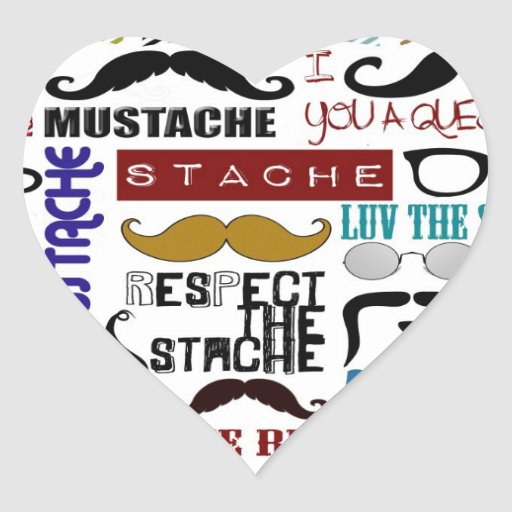 Retro Trendy Mustache Montage Heart Stickers