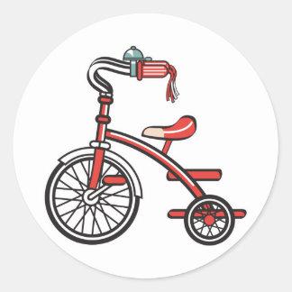 retro tricycle round sticker