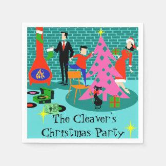 Retro Trimming the Christmas Tree Paper Napkins