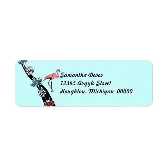 Retro Trip highway Route 66 Return Address Label