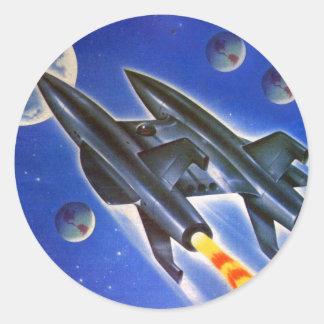 Rétro trois terres de Sci fi vaisseau spatial vint Autocollant Rond